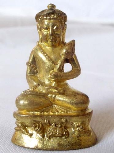 Pra Upakut/Pra Bua Khem Buddha Image made from 'Nuea Tong Rakang ('temple bell brass'), filled with sacred powders and empowered by Luang Por Pian of Wat Grern Gathin in Lopburi.